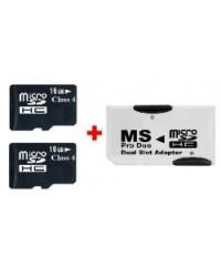 Adaptador Duplo de Micro-SD para Memory stick pro duo +32GB MSD